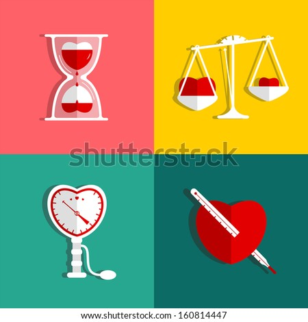 Love Measure and Medicine Heart Checkup Set illustration. Raster variant. - stock photo