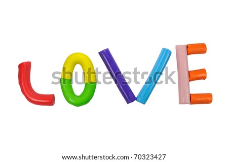 Love modeling clay sculpture craft toy for kids - stock photo