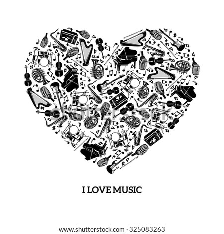 Love music concept with black icons musical instruments in heart shape  illustration - stock photo