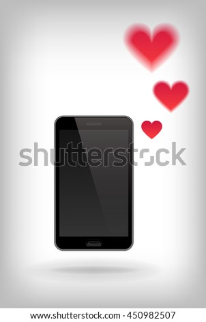Love on Phone. Illustration of smart phone. Happy Valentines Day on Mobile. Phone with Hearts. - stock photo