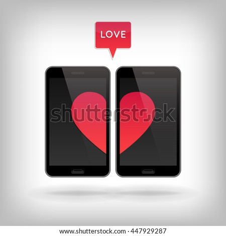 Love on Phone. Illustration of smart phones. Happy Valentines Day on Mobile. Phone screen with Hearts. - stock photo