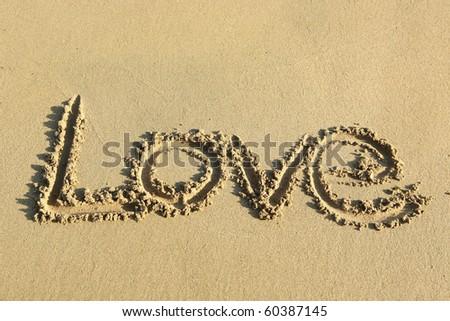 love on sand - stock photo