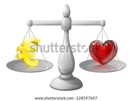 Love or money work life balance scales, scales with a Euro sign on one side and a heart on the other - stock photo