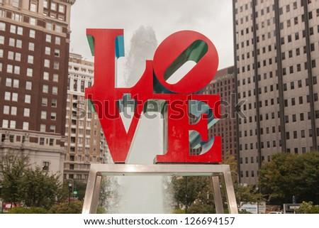 Love Park is a plaza located in Center City, Philadelphia, Pennsylvania. - stock photo