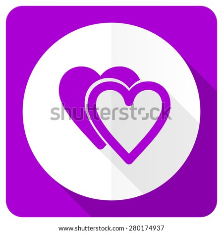 love pink flat icon sign hearts symbol  - stock photo