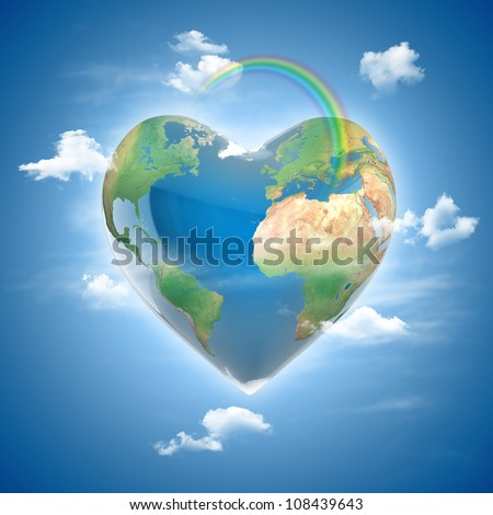 love planet 3d concept - heart shaped earth surrounded with clouds and rainbow - stock photo