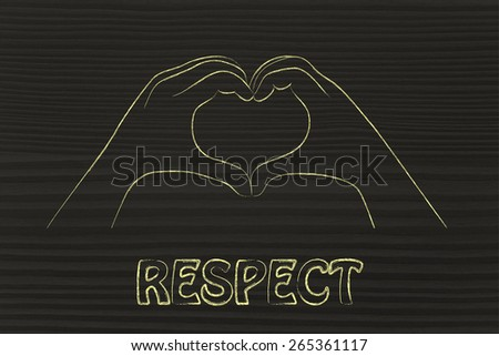 love, respect and happiness: hands making heart sign - stock photo