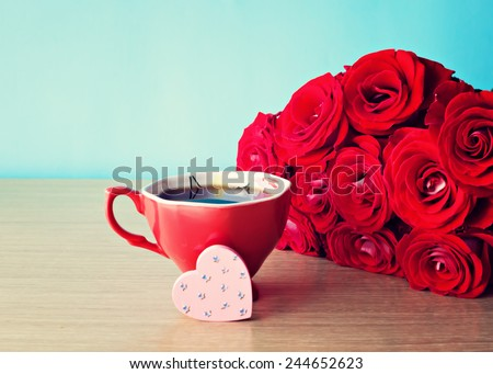 Love roses and coffee - stock photo