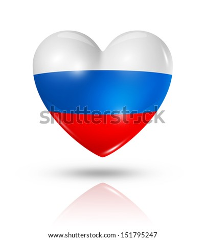 Love Russia symbol. 3D heart flag icon isolated on white with clipping path - stock photo
