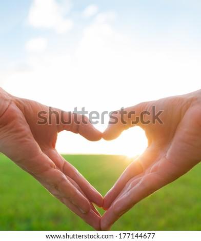 Love shape hands. - stock photo