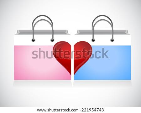 love shopping bag illustration design over a white background - stock photo