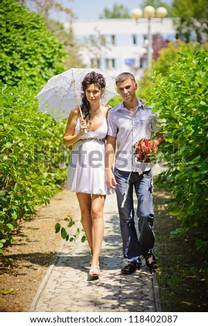 Love story of happy couple.  wedding dress. Bridal wedding bouquet of flowers. feelings, relations, passion - stock photo