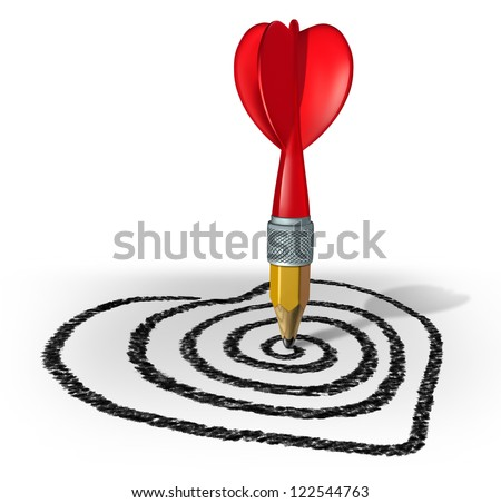 Love strategy and creating a target for a health and vision of the perfect date or marriage by drawing with a pencil shaped as a red dart on a target formed asa valentine heart on a white background. - stock photo