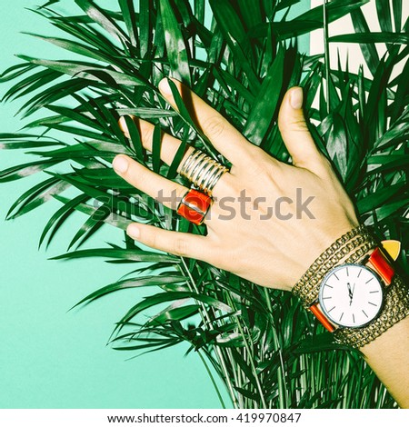 Love Summer. Love Red. Stylish Red Jewelry. Fashion Style Ladies. - stock photo