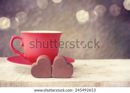 Love sweet heart and cup of coffee  - stock photo