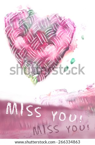 "Love symbol and lettering ""Miss you"" on white background. Miss you card with watercolor abstract heart. Abstract watercolor painting. Grunge heart. Love heart design. - stock photo"