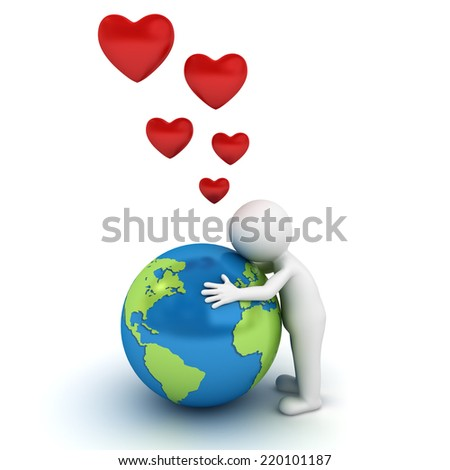 Love the earth concept 3d man hugging blue globe on white background - stock photo
