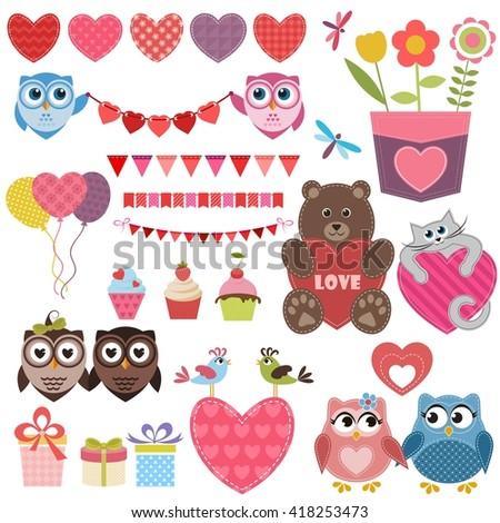 love theme set. Raster version - stock photo