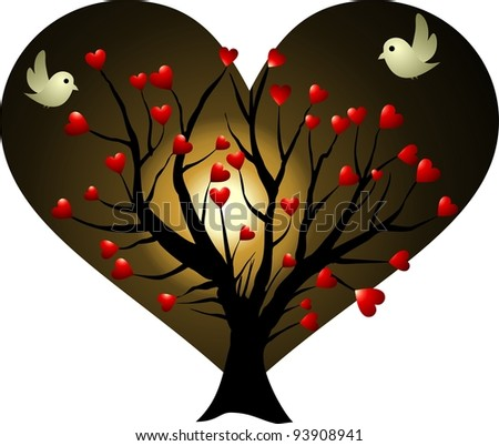 love tree at moonlight - stock photo