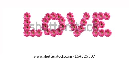 LOVE uppercase letters from pink gerbera flowers alphabet isolated on white background - stock photo