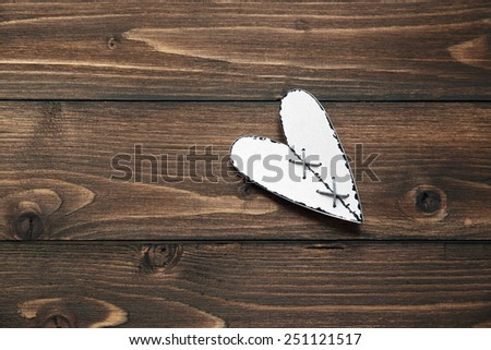 Love Valentine's hearts on rustic driftwood texture background, copy space. Valentine day. Eighth of March. International Women's Day. - stock photo