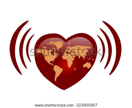 Love via internet - red heart with world map - stock photo