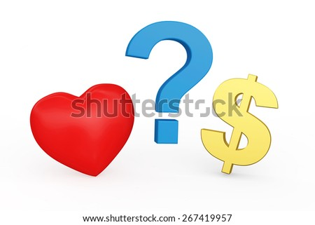 Love vs Money concept or Love vs Carrier concept. Red heart, Dollar sign and Question mark isolated on white background - stock photo