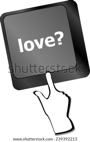 love with question sign button word on keyboard keys - stock photo