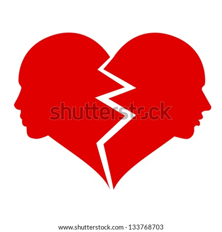love ?? woman and man in the broken heart, - stock photo