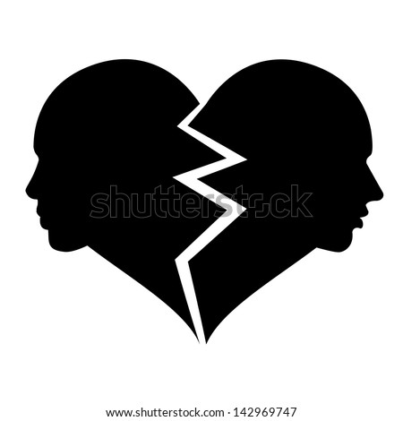 love woman and man in the broken heart - stock photo