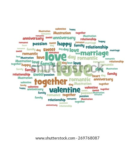 Love word and tag cloud on white background. - stock photo