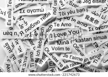 Love  Word Cloud printed on  paper different languages  - stock photo