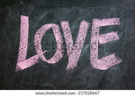 Love word written on blackboard, vintage style - stock photo