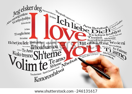 Love words I love you in all languages of the world, word cloud concept - stock photo