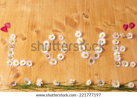 love written with flowers - stock photo
