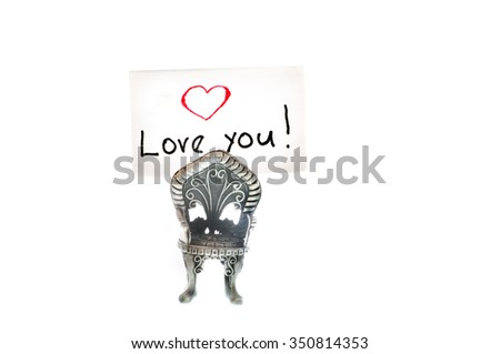 Love you note written on an index card - stock photo