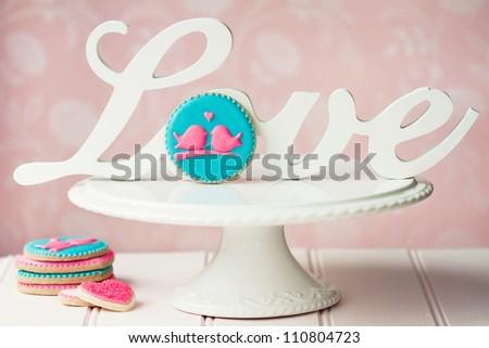 Lovebird cookies - stock photo