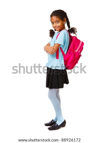 Lovely african american girl with bright backpack - stock photo