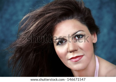 Lovely asian woman, beauty and hair fashion - stock photo