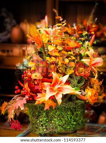 Lovely autumn floral centerpiece - stock photo