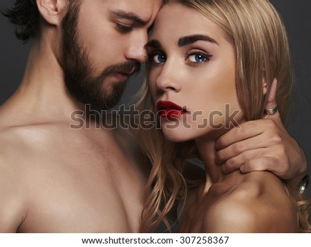 lovely beautiful couple portrait.romantic woman and handsome man.boy and girl together - stock photo