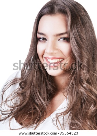lovely beautiful woman with long curly hair on white background - stock photo