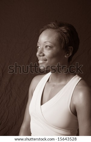Lovely black woman in sepia tone - stock photo