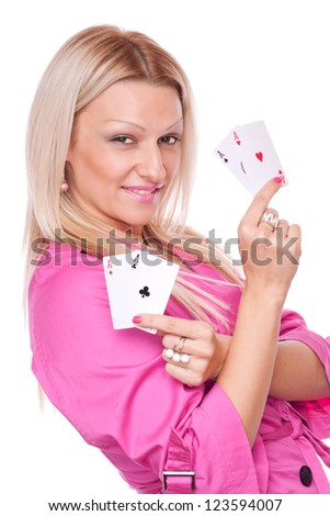 Lovely blonde woman holding two aces in each hand, isolated on white - stock photo