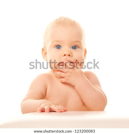 Lovely blue-eyed baby closing mouth with his hand. Isolated on white background. - stock photo