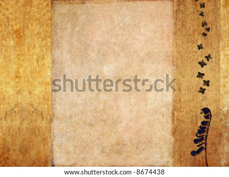 lovely brown and golden background image with interesting texture and floral elements with plenty of space for text - stock photo