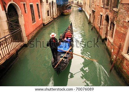 Lovely canals in Venice. - stock photo