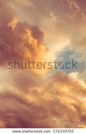 lovely clouds at sunset winter day - stock photo