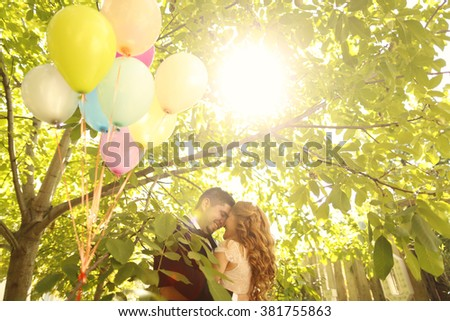 Lovely couple after wedding - stock photo