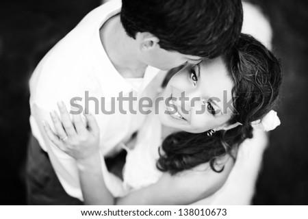 lovely couple on wedding day - stock photo